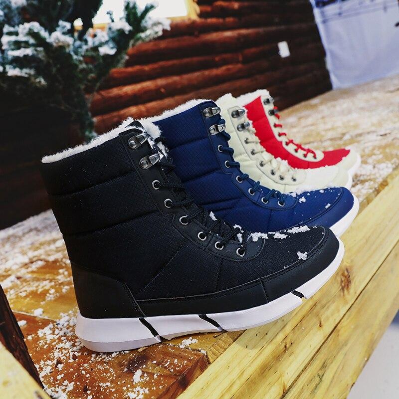 Fashion Winter Boots Men Fur Warm Leather Men Boots Plush Waterproof Lightweight Shoes Male Outdoor Big Size 36-48