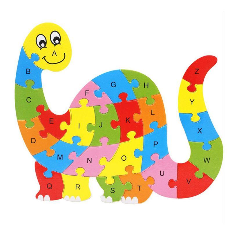 Alphabet Puzzle 3D Wood Child Educational Games Animals Dinosaur Toy Gift