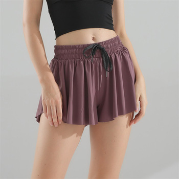 New High Waist Gym Shorts Women Loose Running Quick Dry Breathable Fake Two Anti-lighting Yoga Pants 6