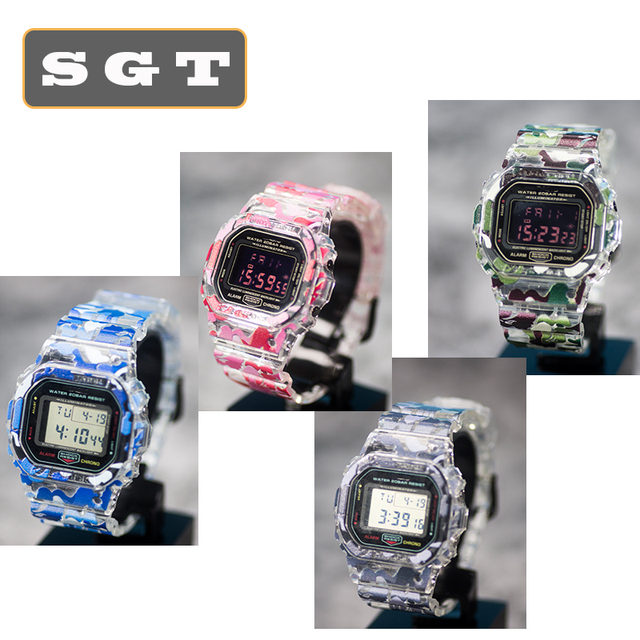 Transparent Camouflage Watchband Replacement For DW5600 DW5610 Rubber Strap Sports Waterproof Watch Straps Watch Band Bezel