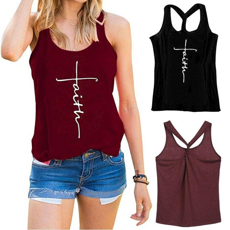 Women Summer Loose Pullover T-Shirt Strappy Gym Sports Running Crop Bra Vest Top
