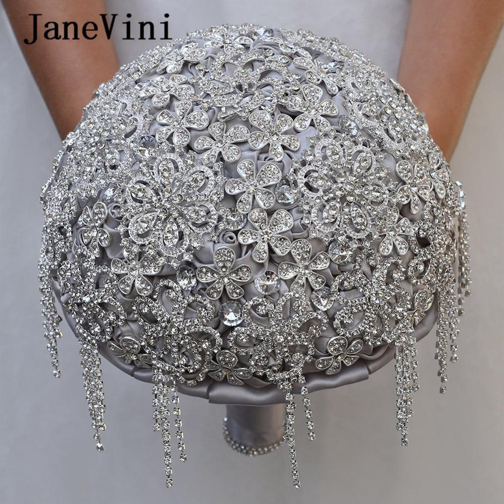 JaneVini Luxury Silver Gray Wedding Bouquets Sparkling Full Beaded Handmade Satin Roses Bride Flower Bouquet Wedding Accessories