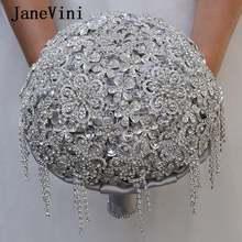 Janevini Роскошные серебристо серые Свадебные букеты сверкающие