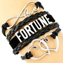 Love Fortune Bracelets Prosperity Thrive Heart To Charm Black Leather