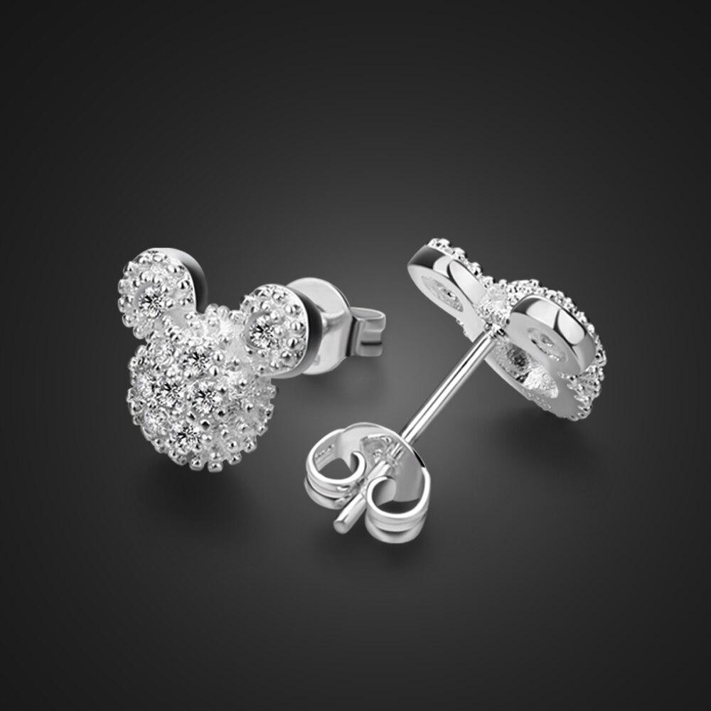 Bohemia 925 Sterling silver Cute Stud Earrings for Children Girls Jewelry White Mickey Shape Sparkling Minni Brand Earrings