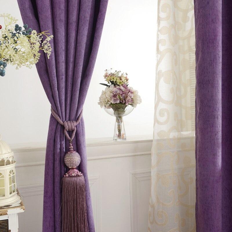 €21.99 11% de DESCUENTO|Nuevas cortinas para comedor sala de estar Simple  color personalizado chenilla aislamiento cortinas tela sombreado-in  Cortinas ...