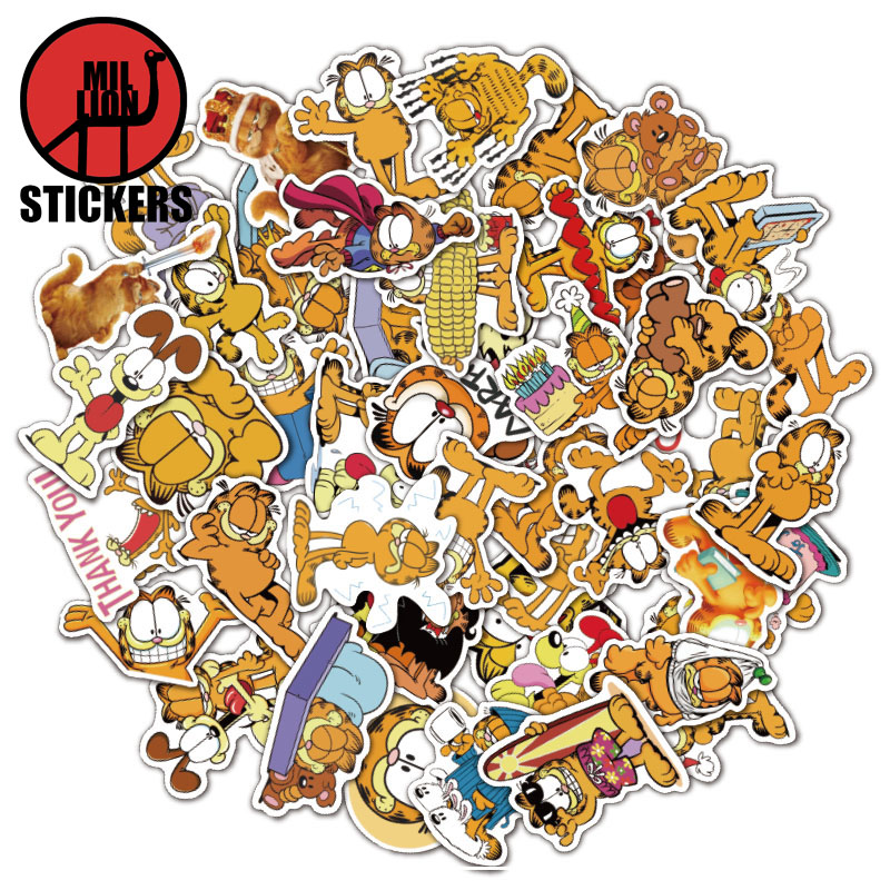 25/50pcs  Garfield The Movie Laptop Stickers DIY Sticker For Kids Toys Bags Box Desk Phone Bicycle Waterproof Decals