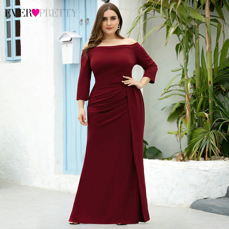 Plus Size Burgundy Evening Dresses Ever Pretty EP07852BD Ruched Side Split 3/4 Sleeve Off Shoulder Sexy Mermaid Party Gowns 2020