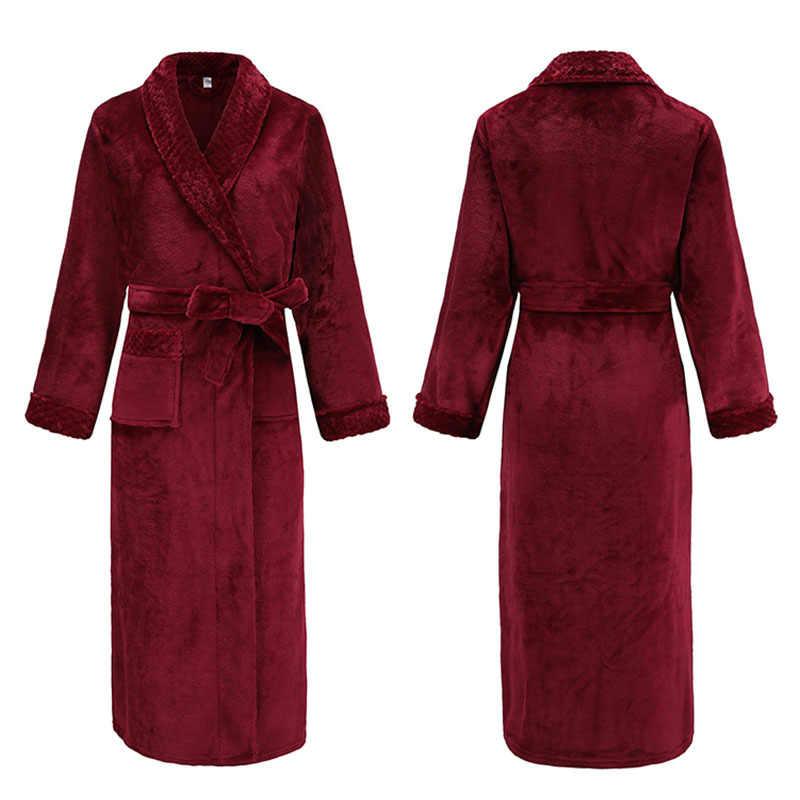 Hiver épaissir femme Kimono Robe violet corail vêtement de nuit en polaire chemise de nuit décontracté chaud peignoir Robe doux Homewear maison vêtements