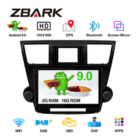 10.1 inch Android 9.0 RAM 2GB 2 din Car Stereo Radio Player GPS for Toyota Highlander 2008 2009 2010 2013 No DVD YHHLD101A