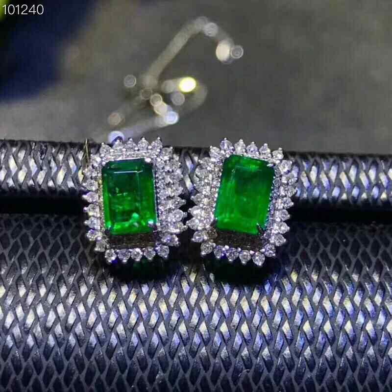Meibapj Emerald Tự Nhiên Gemstone Bộ Trang Sức Nữ Bạc 925 Bông Tai Vòng Cổ Vòng 3-Miếng Phù Hợp Với Bộ Trang Sức Nữ Cao Cấp Cho Nữ
