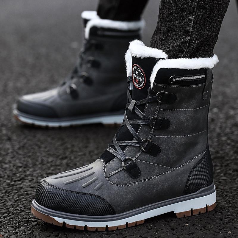 Martin Boots Snow Boots For Men Plush Waterproof Slip Men Boots Thick Resistant Winter Shoes Plus Size38-46 Warmest Winter Shoes