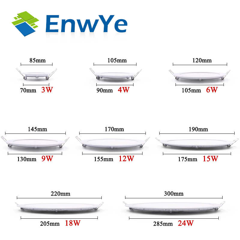 EnwYe, lámpara empotrada LED Ultra delgada, 3W, 4W, 6W, 9W, 12W, 15W, 18W, 24W, empotrada en el techo, lámpara de panel redondo delgada