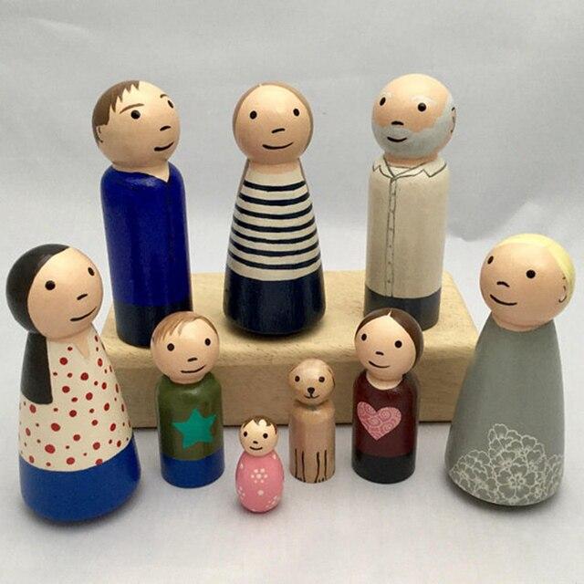 Let's Make 10PCS 65mm,55mm,43mm,35mm Wooden Peg Dolls Girl Boy Wood Dolls Kids Room Decor DIY Unfinished Wooden Peg Dolls 6