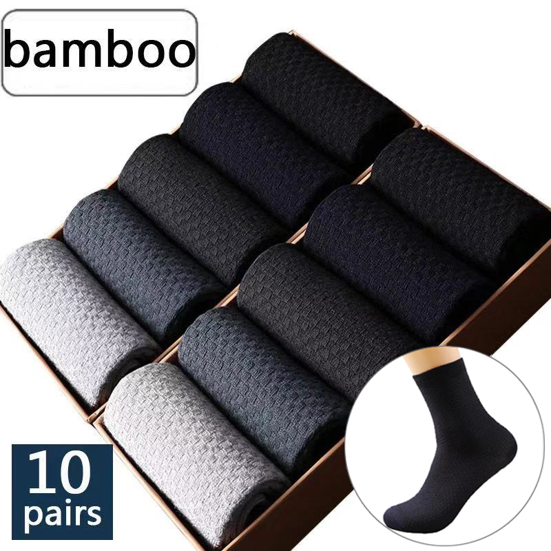 10 Pair/Lot  Men's Bamboo Socks Man Compressed Long Socks Male Business Casual Dress Socks Plus Size 39-45 Drop Shipping