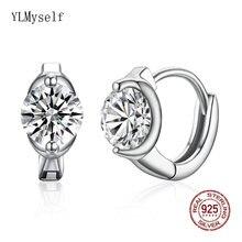 Элегантные серьги кольца из настоящего серебра с овальным кубическим