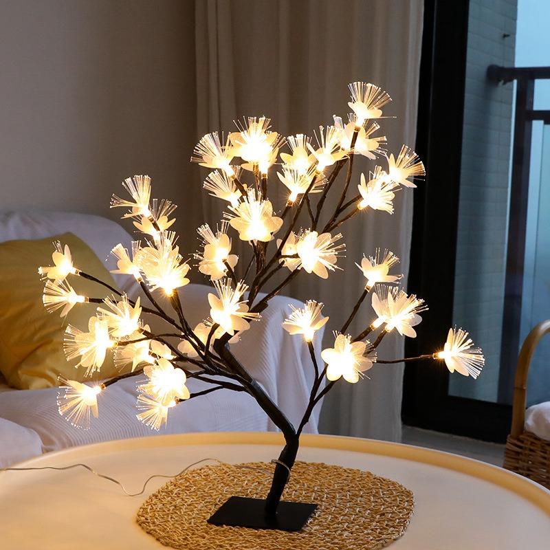 LED Blossom Tree Light, Desktop Bonsai Light 20 Inch USB Power Bonsai Tree Table Lamp Black Branches For Party Wedding Festival