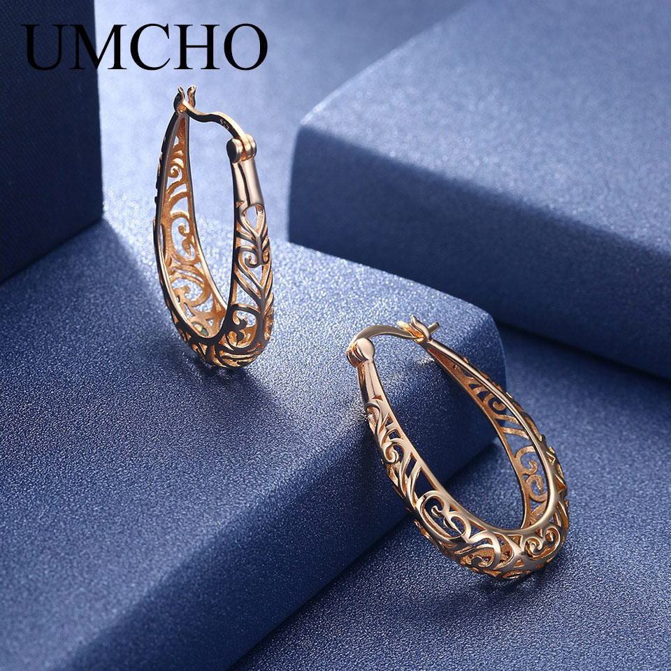 UMCHO Real 925 Sterling Silver Gold Plated Earrings for Women Girls Daily Party Prom Anniversary Fashion Elegant Fine Jewelry