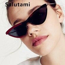 Oversize Stripe Lens Cat Women Eye Sunglasses 2019 Fashion Metal  Ladies Sexy Sun Glasses Vintage One Piece Eyewear Big Frame
