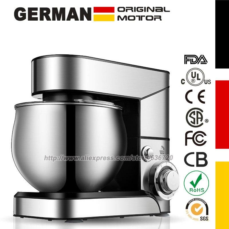 Кухонный миксер из нержавеющей стали, 5 л, 1200 Вт, 6 скоростей
