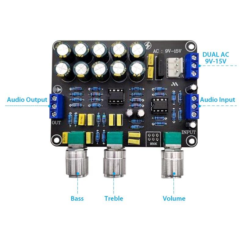 Newest Dual NE5532 Preamplifier Board Audio Equalizer Preamp Treble Bass Tone Control Pre Amplifier DIY Preamplifier Module 2