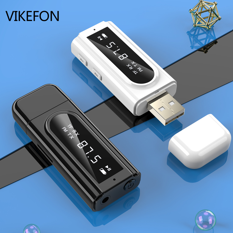 Bluetooth 5.0 Receiver Transmitter LED Car FM Modulator Card Reader 3.5mm AUX Jack RCA USB Wireless Audio Adapter Handsfree Mic(China)
