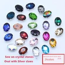 24 cores todos os tamanhos 6-30mm costurar no botão de prata oval strass cristal/diamante/montee/jóias/diy vestido de casamento sapatos artesanato