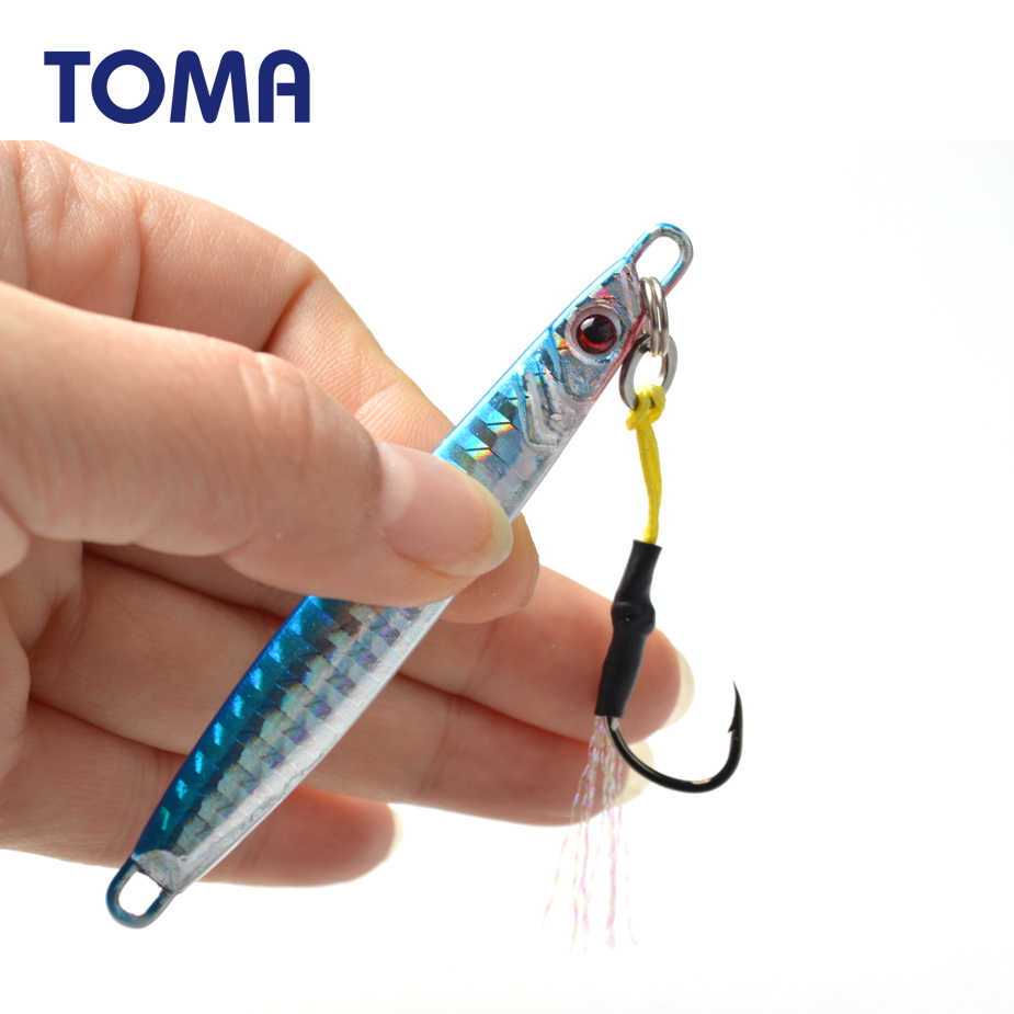 TOMA Mini Jig Metal Fishing Lure Spoon 14g 21g 28g 40g Long Cast Lead Fish Jigging Sea Bass Lure Artificial Bait Tackle