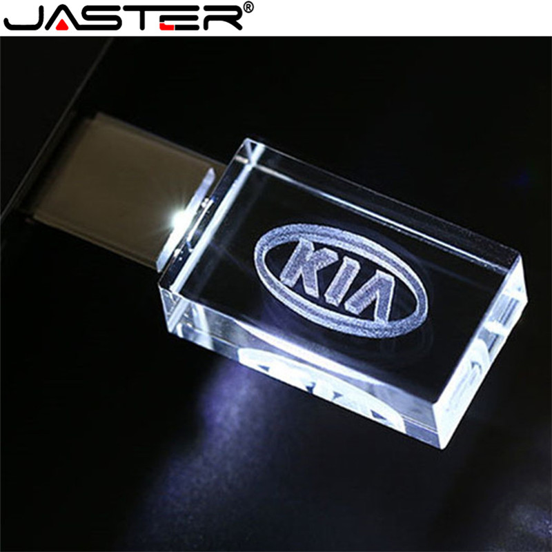 JASTER HOT KIA Crystal + Metal USB Flash Drive Pendrive 4GB 8GB 16GB 32GB 64GB 128GB External Storage Memory Stick U Disk
