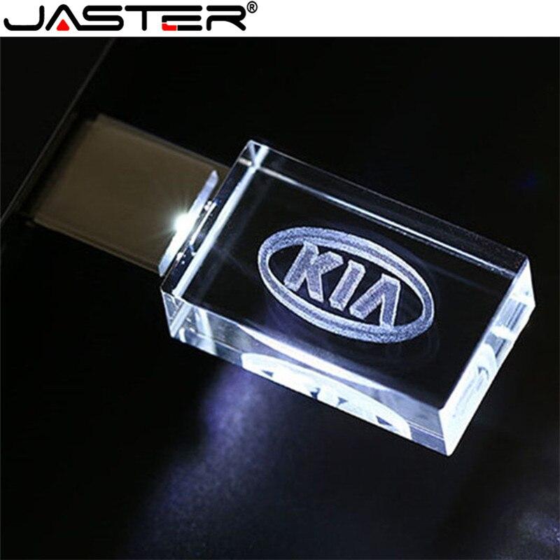 JASTER caliente KIA de cristal + metal USB flash drive 1 GB 2GB 4GB 8GB 16GB 32GB 64GB 128GB de almacenamiento externo de memoria de disco u