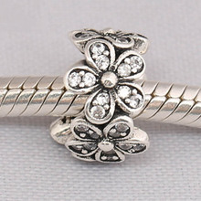 Bangle Jewelry Bracelets Spacer Charms-Fit Bead Diy Clear Daisies CZ Dazzling Lady S925