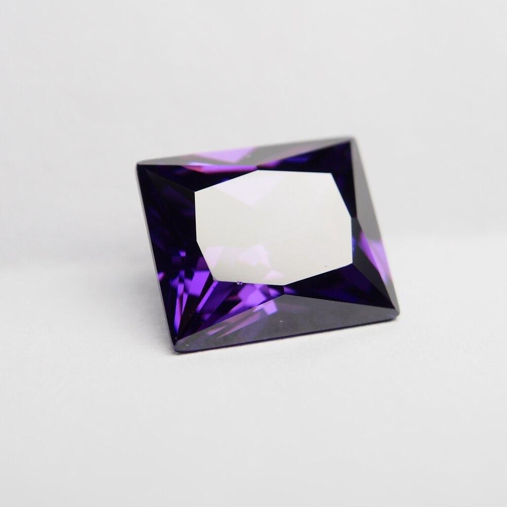 10PCS /alot 8*10mm amethyst stone rectangle Princess cut Lab cubic zirconia gemstone loose zircon stone