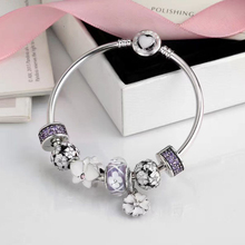 цена на Quality Original 1:1 100%925 Sterling Silver Purple Clasp White Flower Bracelet Free Shipping