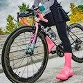 Мужская и женская обувь с замком для шоссейного велосипеда  легкая водонепроницаемая и ветрозащитная обувь  высокие бахилы для езды на вело...