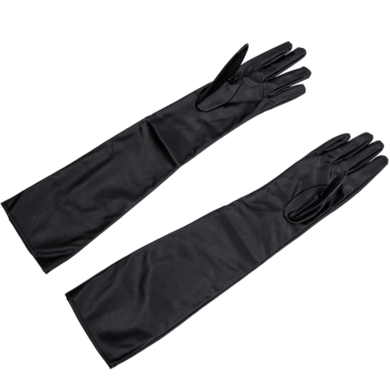 Women's/Ladies' Long Soft Artificial Leather Gloves--Black