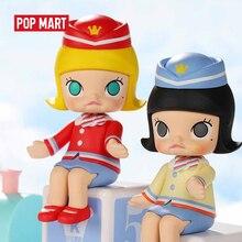 Popmart molly feliz trem festa série caixa cega boneca binária figura de ação presente aniversário do miúdo brinquedo