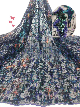 Tissu Lace Fabric, African Lace Fabric With Sequin, Newest Nigeria Lace Fabric For Dresses  FJ3459