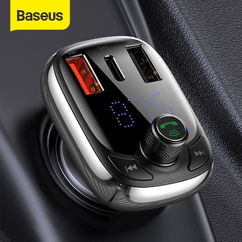 Baseus fm transmissor bluetooth 5.0 kit carro handsfree áudio mp3 player com pps qc3.0 qc4.0 5a carregador rápido modulador fm automático