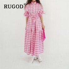 RUGOD 2020 New Arrivals Color Blocking Retro Plaid Shirt Dress Long Sleeved Loos