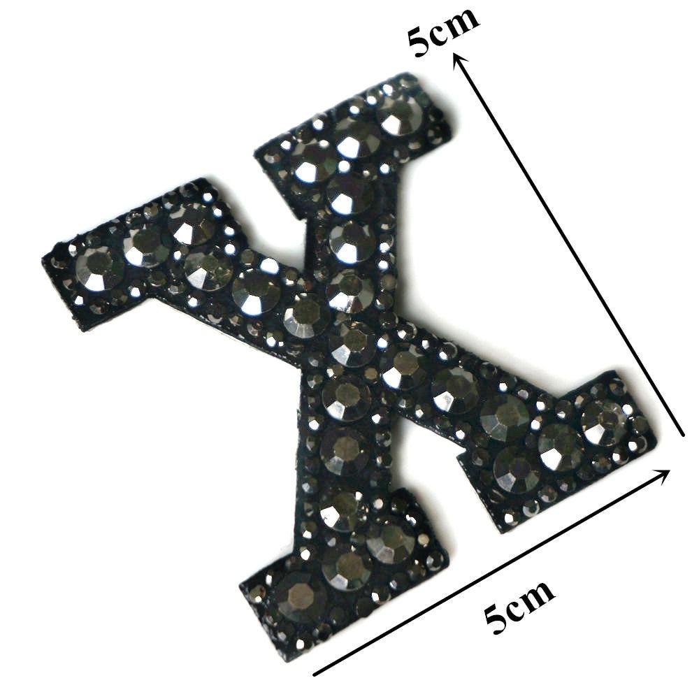 Черные стразы 26 букв алфавита ABC пришить железные нашивки блестящие Значки для имени DIY платье джинсы Аппликации украшения - Цвет: X
