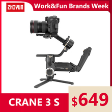 ZHIYUN Official Crane 3S/Crane 3S-E 3-Axis Handheld Stabilizer Extendable Arm payload 6.5KG for DSLR Camera Video Cameras Gimbal zhiyun crane 2 accessories zw b02 wireless remote control monitor for crane plus crane v2 crane m handheld camera stabilizer