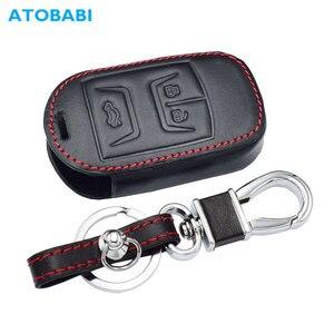 Image 1 - Real Leather Car Key Case For Chery Tiggo 3 5 Chery ARRIZO 3 7 Chery E3 E5 Bonus 3 Buttons Smart Remote Fob Cover Keychain Bag