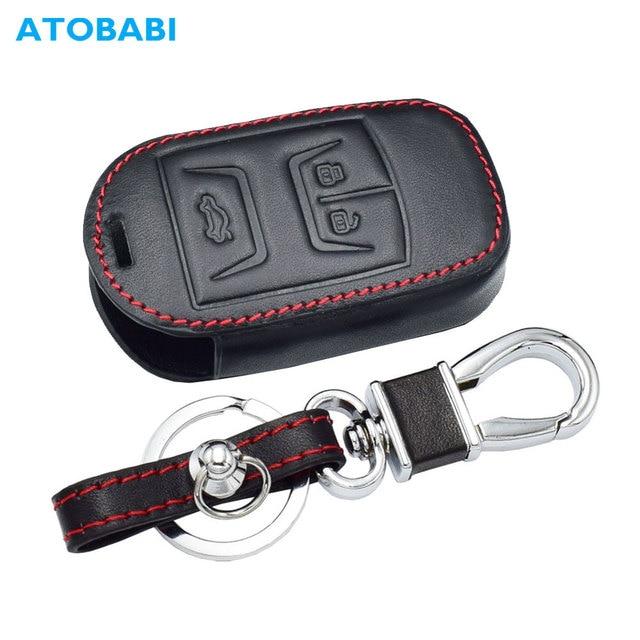 Real Leather Car Key Case For Chery Tiggo 3 5 Chery ARRIZO 3 7 Chery E3 E5 Bonus 3 Buttons Smart Remote Fob Cover Keychain Bag