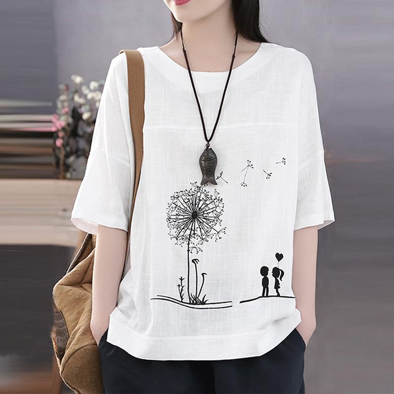Vintage Autumn O Neck 3/4 Sleeve Blouse Women Cotton Linen Shirt Female Casual Cartoon Printed Tunic Tops Chemise Loose Blusas