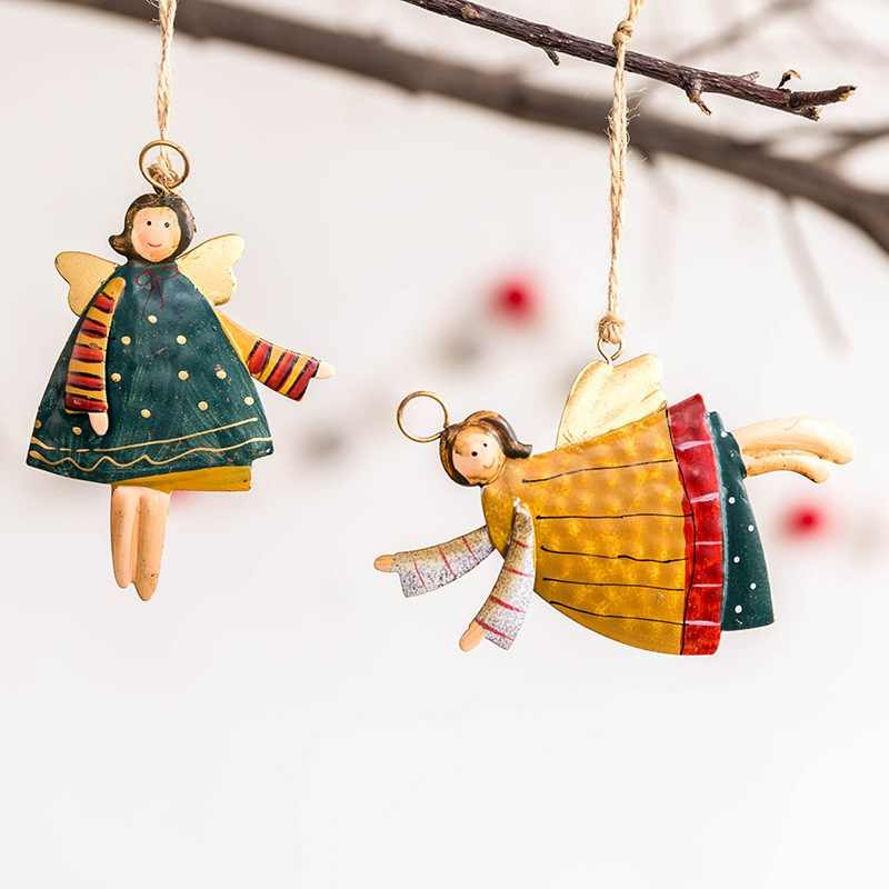 Xmas Tree Hanging Decorations Crafts Rustic Painted Metal Angel Christmas Pendants Drop Ornaments Christmas Household Decoration
