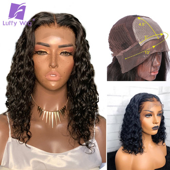 Short Curly 5x4.5 Silk Base Lace Front Wig PrePlucked Bob Human Hair Wigs 13x6 Deep Remy Brazilian With Baby Hair Glueless LUFFY