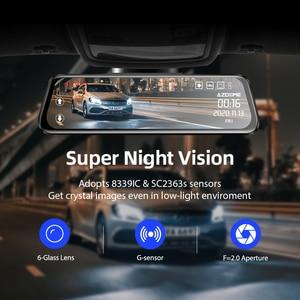 """Image 3 - Azdompg02 10 """"مرآة تعمل باللمس اندفاعة كام تدفق الوسائط ADAS عدسة مزدوجة عكس الكاميرا للرؤية الليلية 1080P مسجل السيارة ل Uber"""