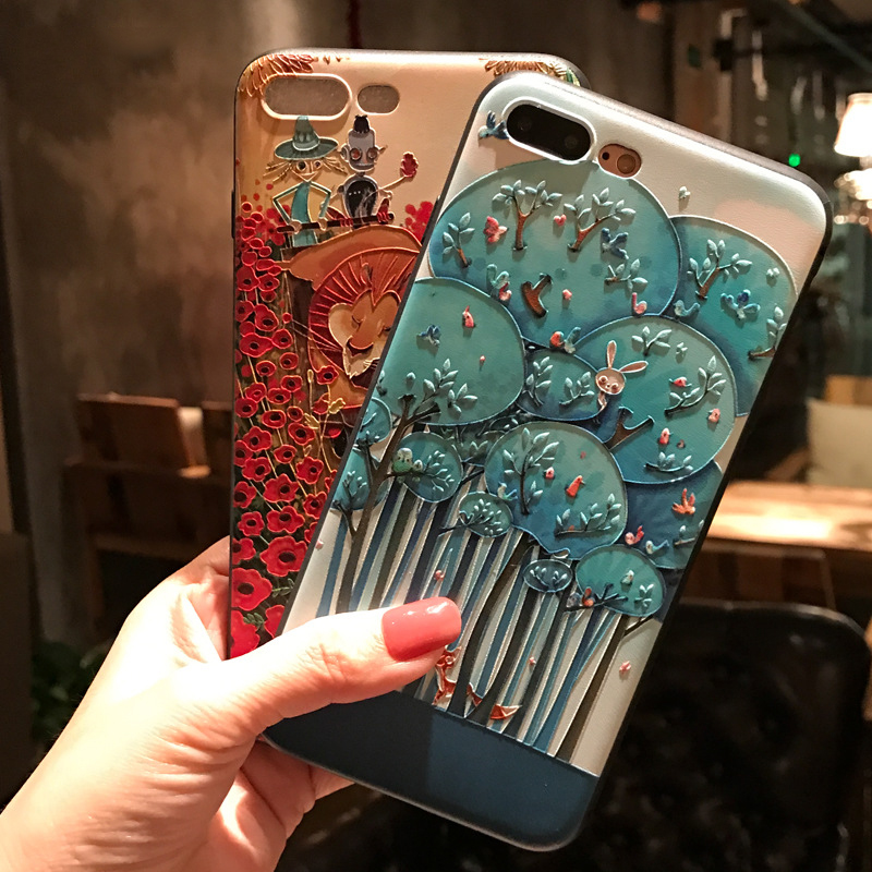 For <font><b>Samsung</b></font> Galaxy s9 plus s10 plus <font><b>s10e</b></font> s20 plus S20 Uitra s20+ C9 pro silicone frosted 3D Embossed carvings Painted phone case image