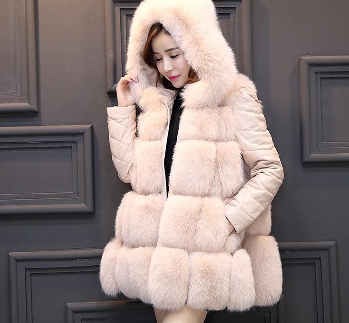 Un nuevo tipo de ropa de mujer de largo y mediano de comercio exterior con costura de piel y abrigo de pelo de zorro en 2019 - 4