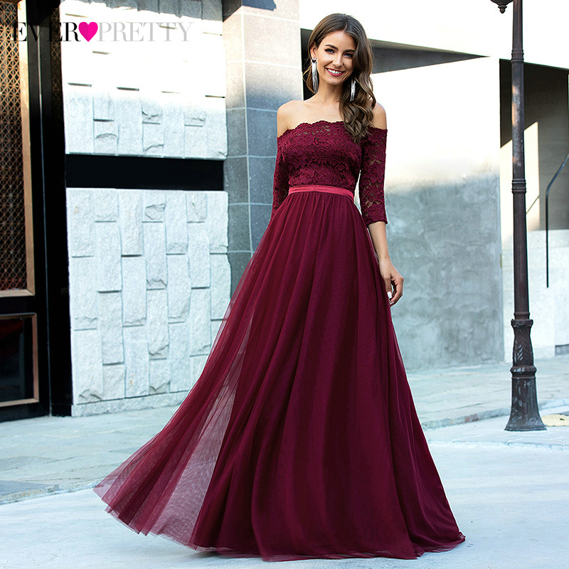 Burgundy Lace Evening Dresses Ever Pretty EP00726BD Off Shoulder A-Line 3/4 Sleeve Ruched Floral Party Gowns Vestidos Elegantes